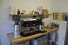 Stepping inside, you find this Gaggia espresso machine...