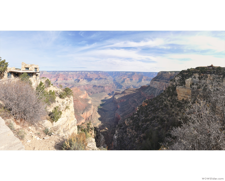 Bright Angel Trail, as seen from the South Rim, with Mary Colter's Look Studio on the left.