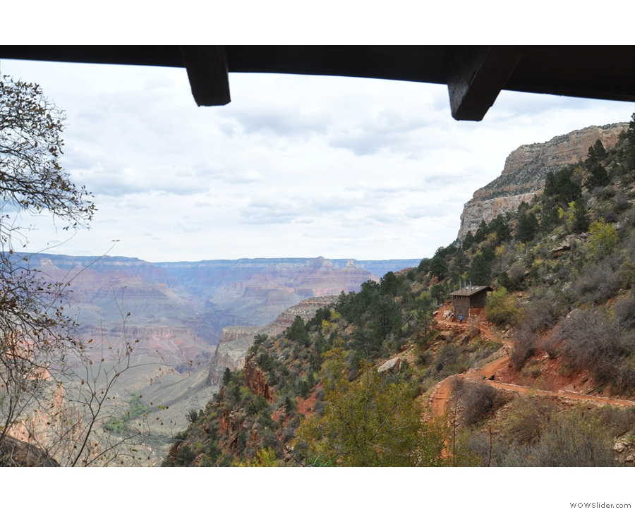 The view from the 'window', looking across the canyon. The other structure is a...