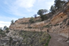 A quick look back after five minutes, with the trail descending via long, looping switchbacks.