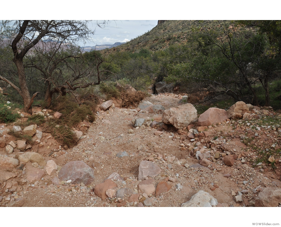 At the bottom of the valley, the trail crosses multiple dry stream beds and then...