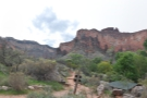 A panorama from the campground, where I stopped for a break, looking back to the South Rim. I've got to decide: press on to Plateau Point or turn back now? Read on to find out.