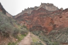 One of the many times I looked back and thought: how did the trail get down from there? There, by the way, being the trailhead at the dip in the rim above/to the left of the path.