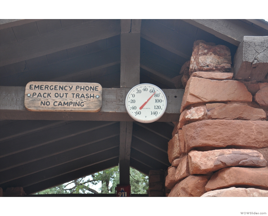 I checked the temperature at the resthouse: 70°F or 21°C, a little bit warmer than before.