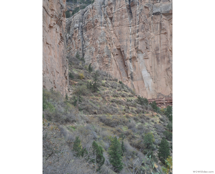 ... but then come the switchbacks as the trail climbs between two sheer rock faces.