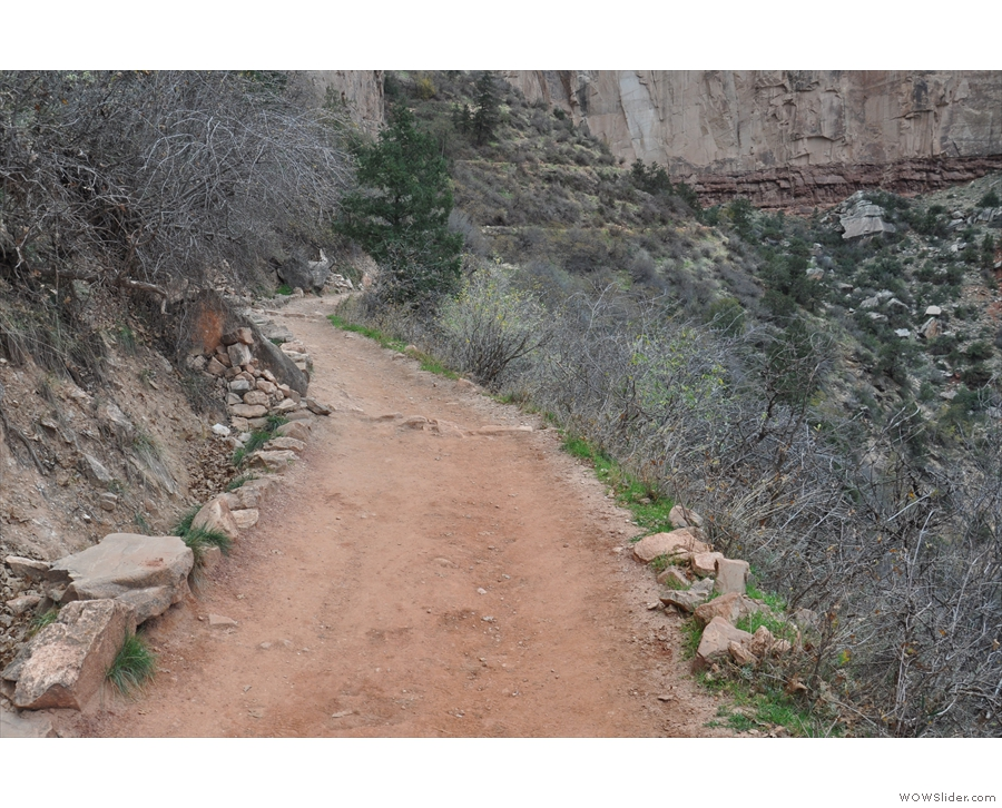 The trail is relatively flat at first and fairly easy going...