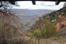 The view from the resthouse 'window', with Indian Garden and Plateau Point visible.