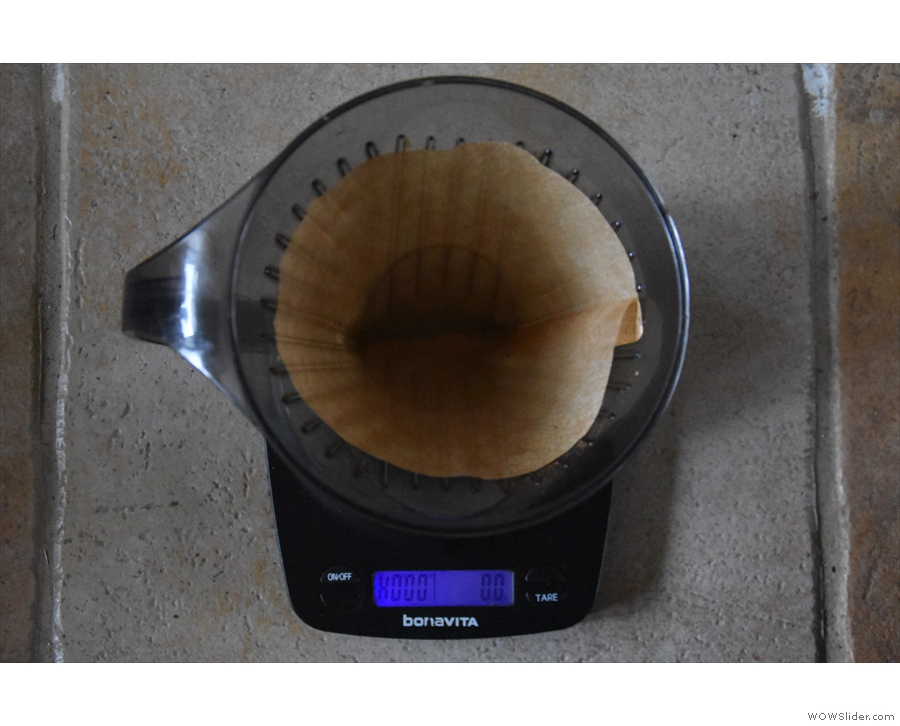 Put the Clever Dripper on your scales (if you are weighing your water)...