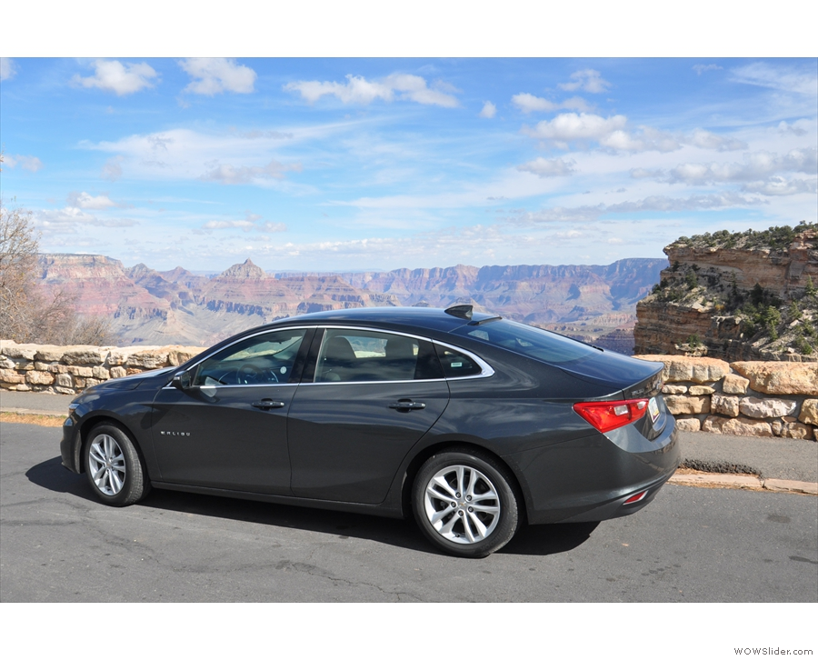 My car, ready to take me back to Phoenix after one last goodbye to the Grand Canyon.