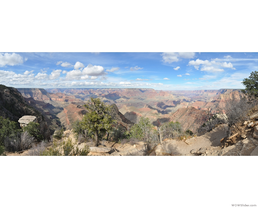 A sweeping panorama from Grandview Point, looking north over the Grand Canyon.