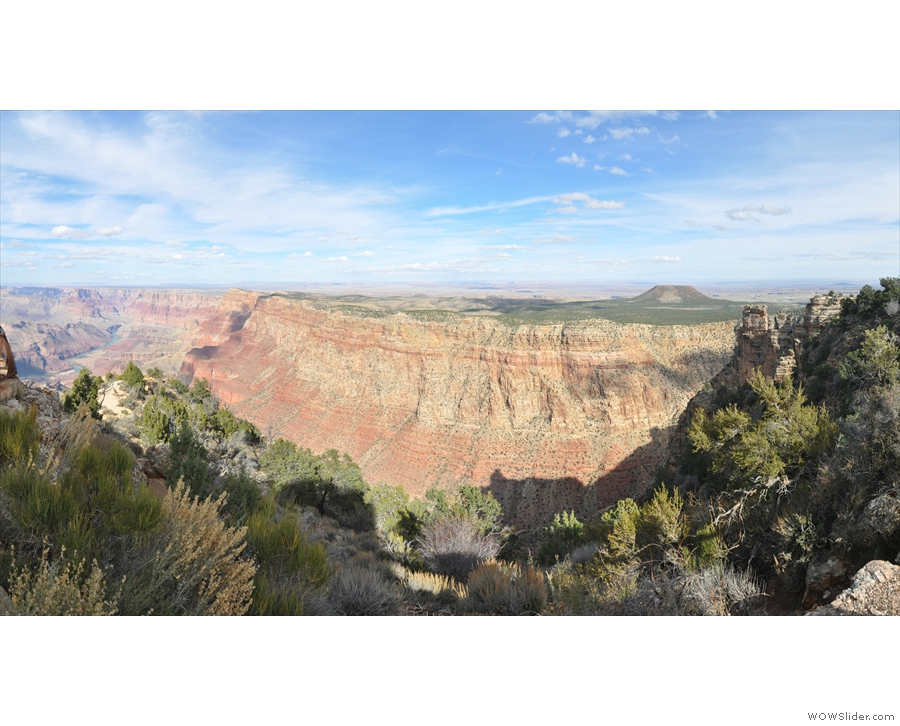 Here's a panoramic view from just south of the watchtower. Those cliffs are the...