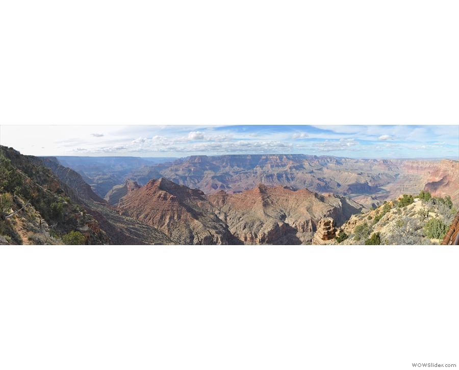 Talking of west, here's a panorama taking in the Marble Platform to the east (right), all the way to the view down the Grand Canyon to the west (left).
