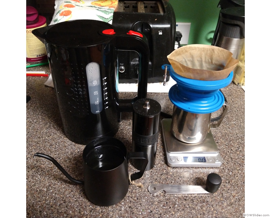 My coffee set up from later on in the trip in Atlanta (and yes, the kettle is mine).
