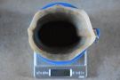 A nice flat bed of ground coffee at the bottom of the filter.