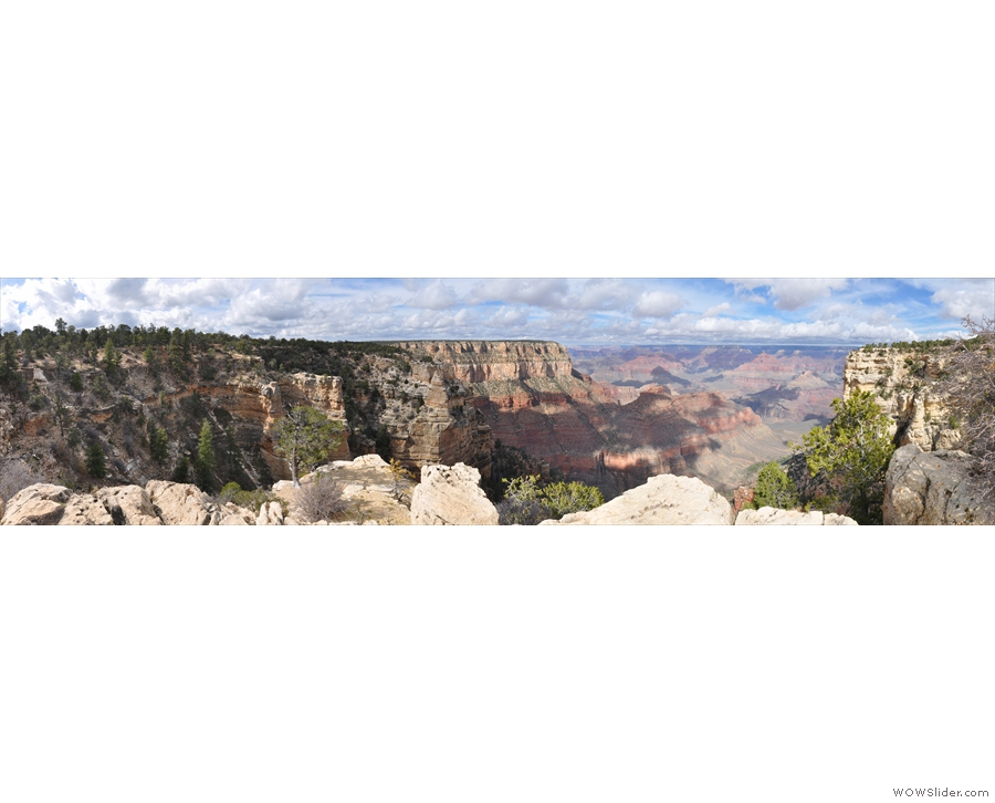 A useful panorama from about a third of the way around, showing the full sweep of the valley containing the Bright Angel Trail. The trailhead (where I joined the Trail of Time) is on the far left, while Yavapai Point is on the right. Directly ahead is Maricopa Point, which is on the Rim Trail going west from the Grand Canyon Village.