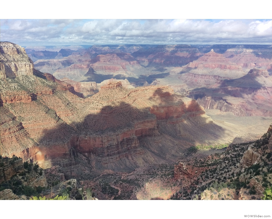 Overlooking Bright Angel Trail, which descends on the left, with Indian Garden on the right.