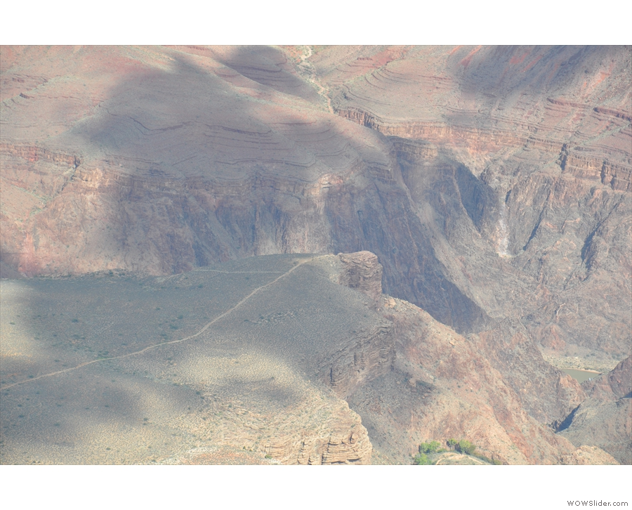 If you look very carefully to the right of Plateau Point, you can see the Colorado River.