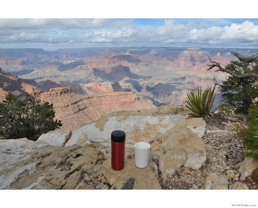 ... for a coffee break. Here my Travel Press and Therma Cup take in the views.