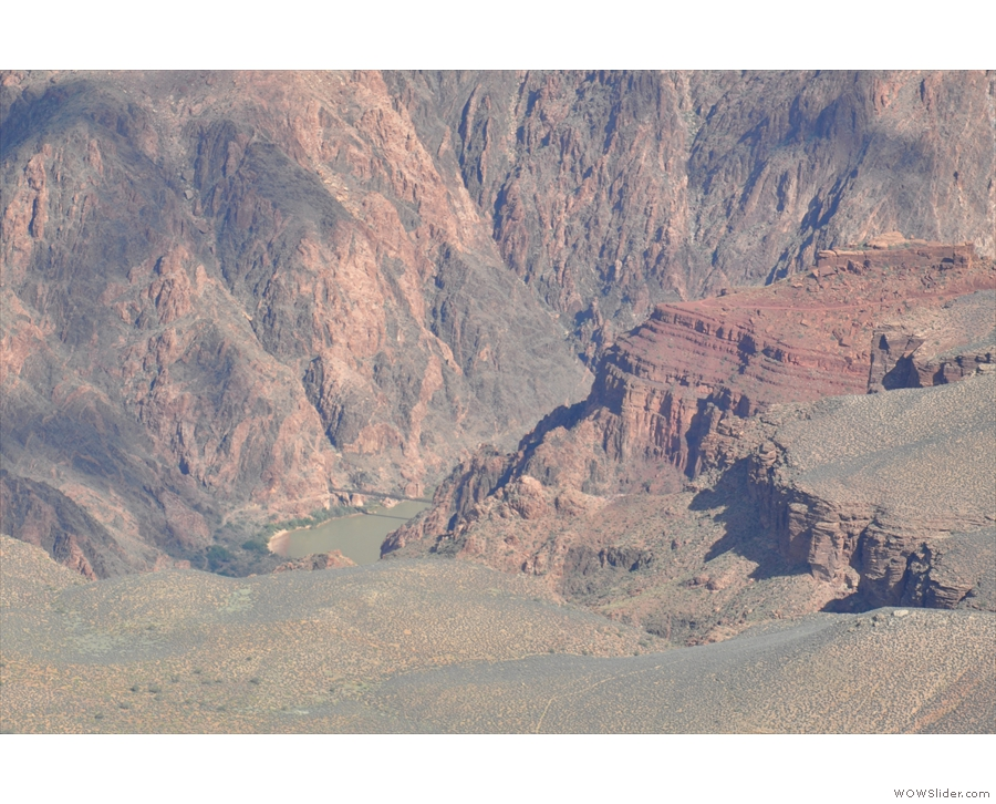 ... you can see the Kaibab Suspension Bridge crossing the river at the canyon's bottom.
