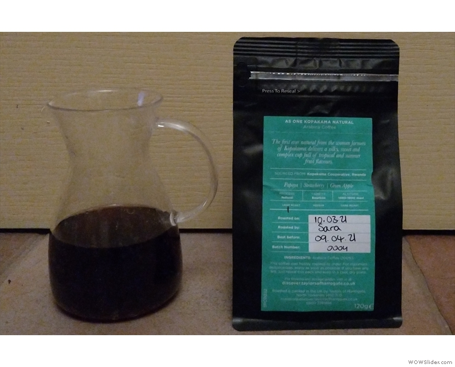I tried them side-by-side. Here's the naturally-processed coffee...