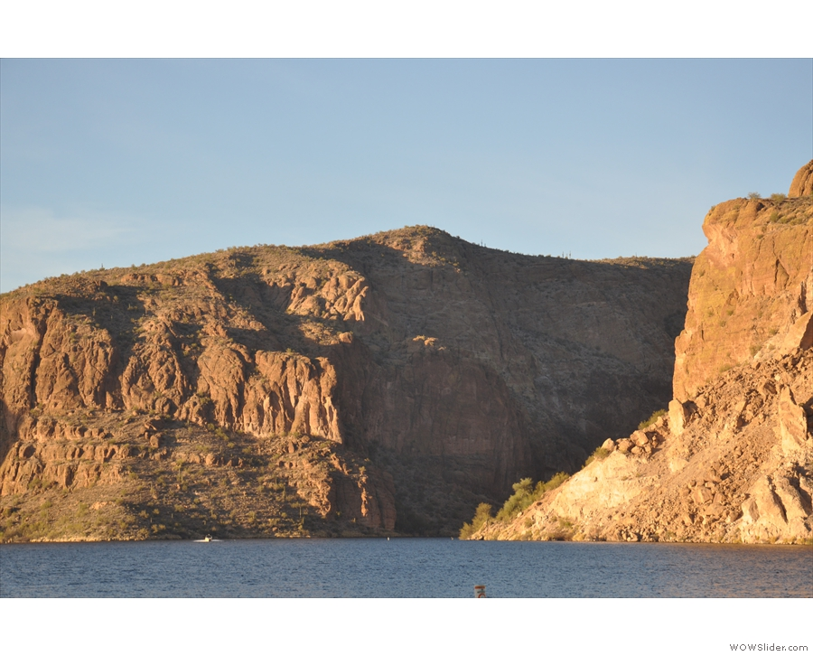 A closer look at the gorge where the river flows in (it flows out to the west).