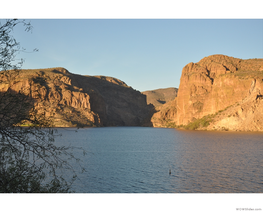 Although the lake runs east-west, the river actually enters from the north via this gorge.