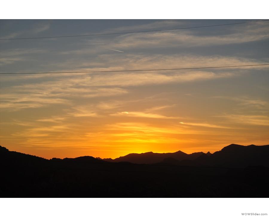 ... leaving behind a fiery glow in the sky.
