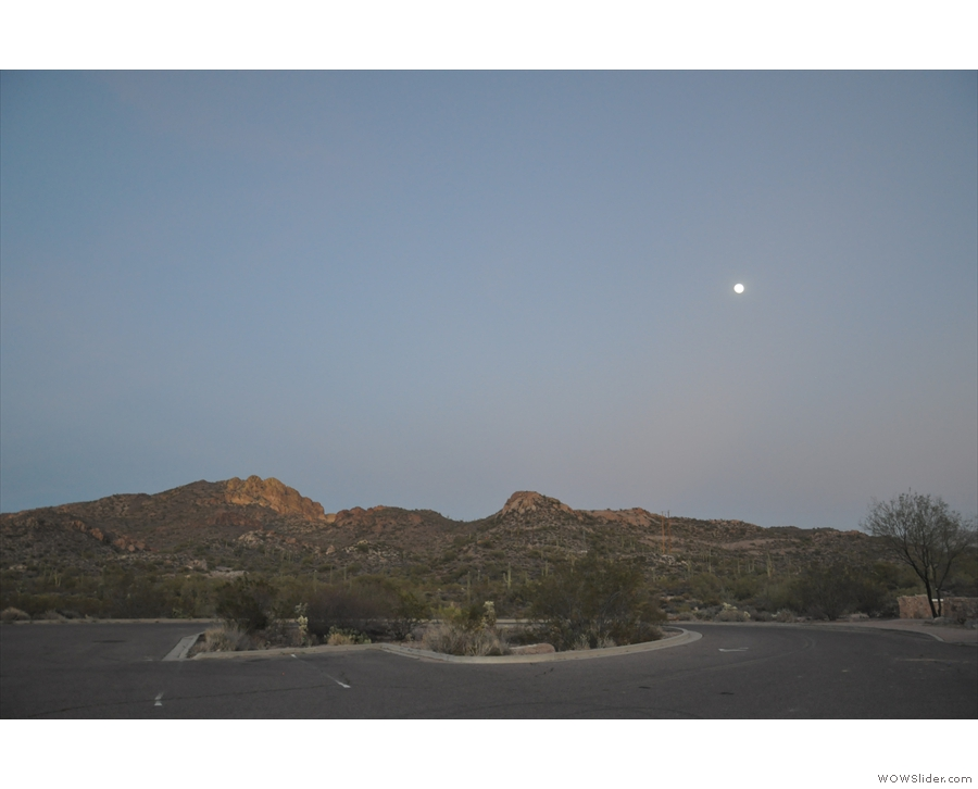 I made one final stop at Weaver's Needle Vista Viewpoint, where the moon was riding...