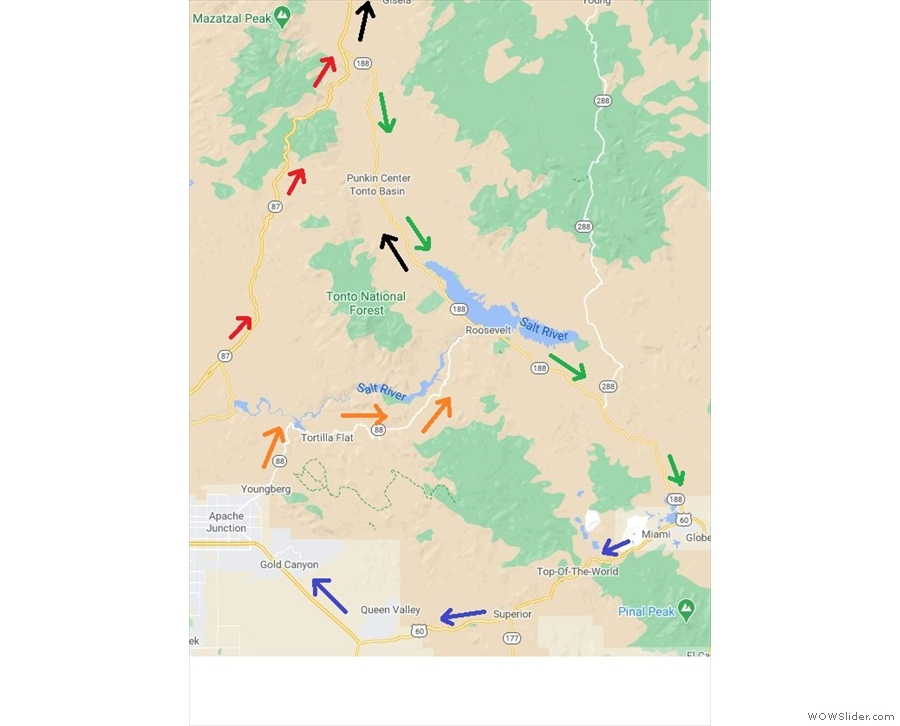 My route for the day, aka the Big Loop. Follow the arrows: red, green, blue, orange, black.