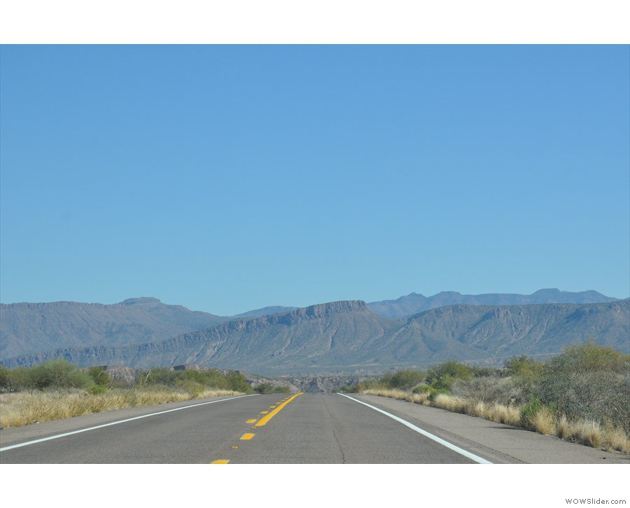 ... southern end of the valley, heading for the mountains north of Globe.