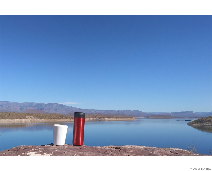 Before I set off, I had some coffee. Here my Travel Press and Thermacup admire the view.