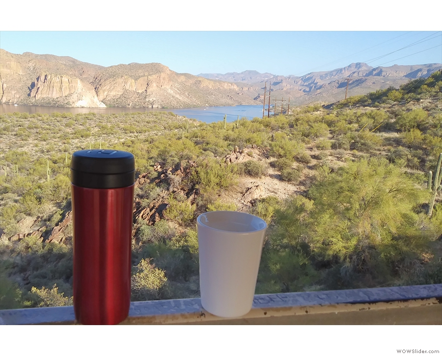 ... Apache Trail, where I enjoyed the last of my coffee, my Travel Press & ThermaCup...