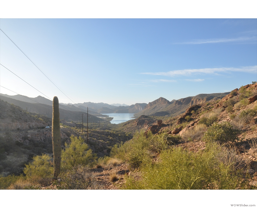I stopped at the top of the valley for this view back the way I'd come, with Canyon Lake...