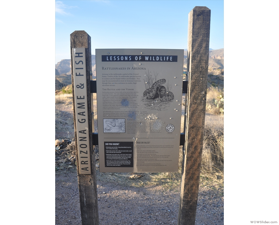 ... although before I set off, I read up about the wildlife (which includes rattlesnakes!).