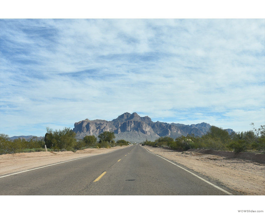 Back on the road and, after a drive over Usery Mountain, I'm heading east, approaching...