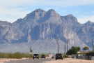 It looks like the road runs straight into the mountain, but actually it joins the Apache Trail...