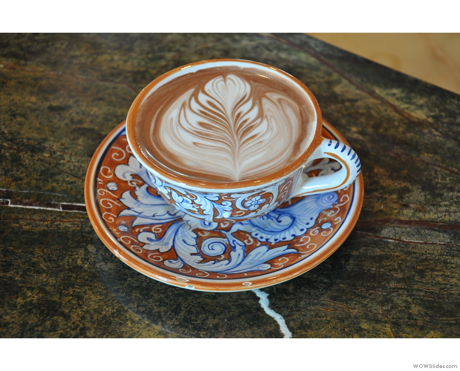 She pulled out all the stops on the latte-art! What a beauty.