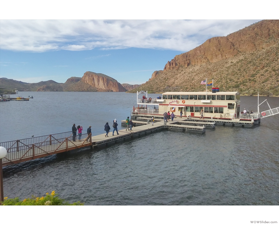 This runs regular cruises around Canyon Lake and was just boarding passengers for...
