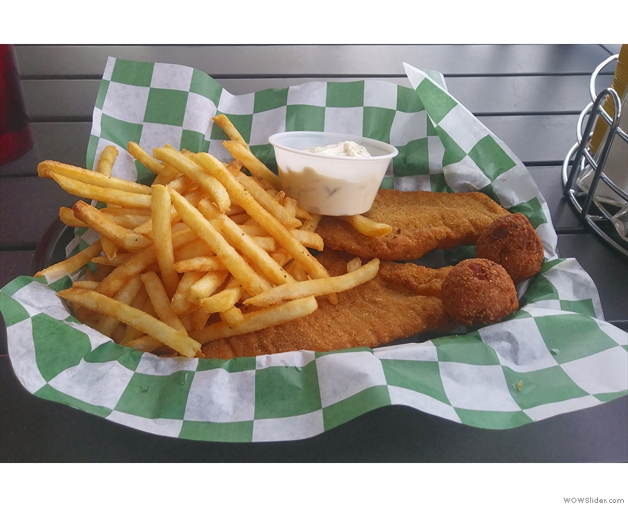I had (local, I believe) catfish and fries, served in a basket.