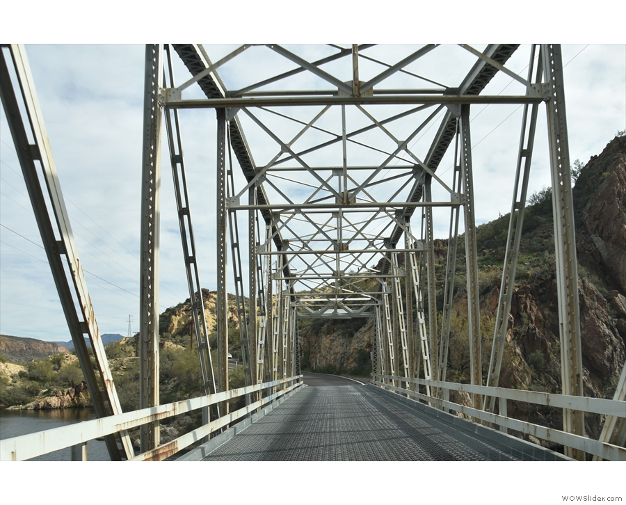 ... following the Apache Trail across First Water Creek at the lake's western end...