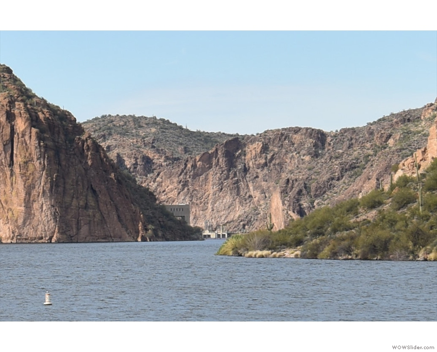... you'll see the Salt River as it flows west out of the lake, plus the Mormon Flat Dam.