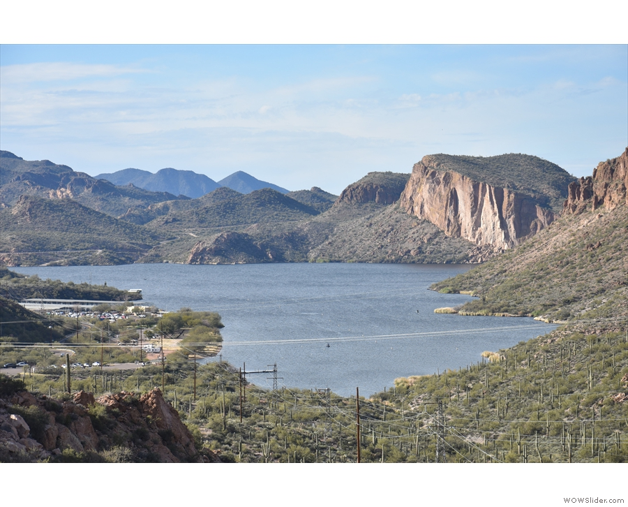 From here you can see the Apache Trail as it winds down to the lake at the western end...