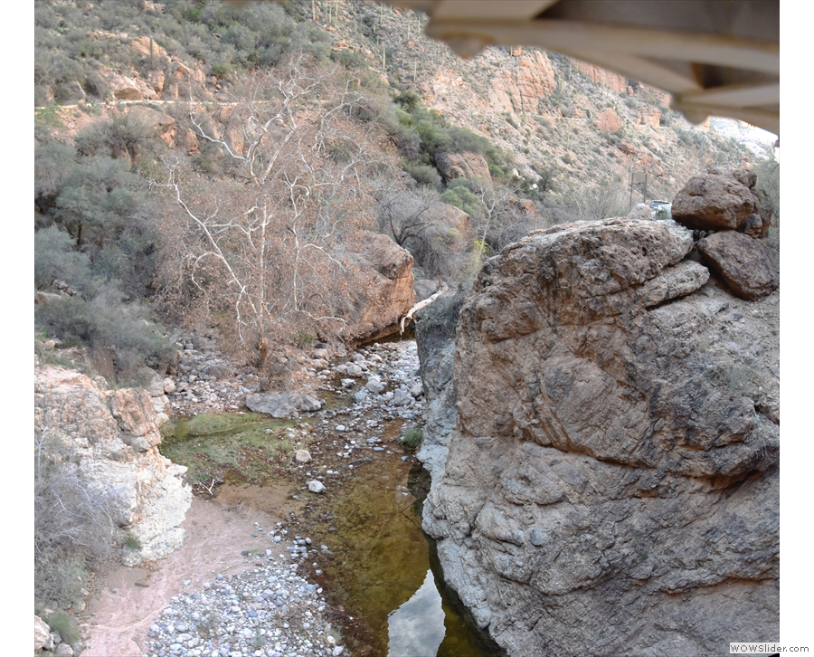 Meanwhile, this is the view downstream, looking under the bridge. You can see the...