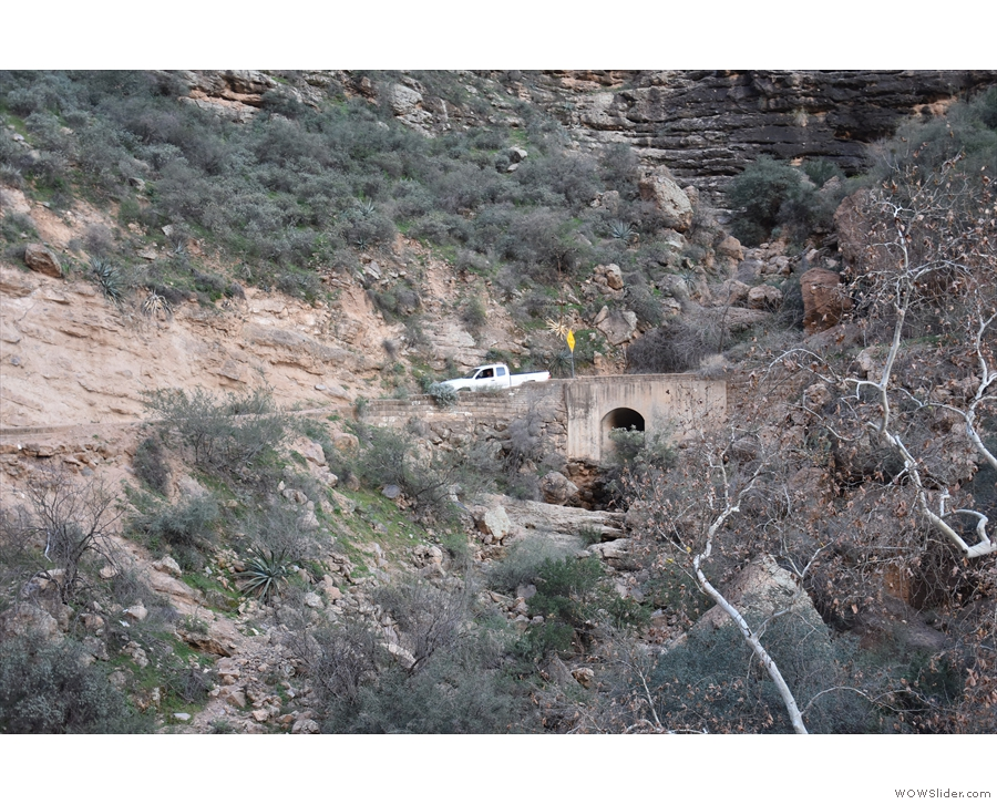 One of many concrete culverts which span the dry water courses on the canyon's sides.