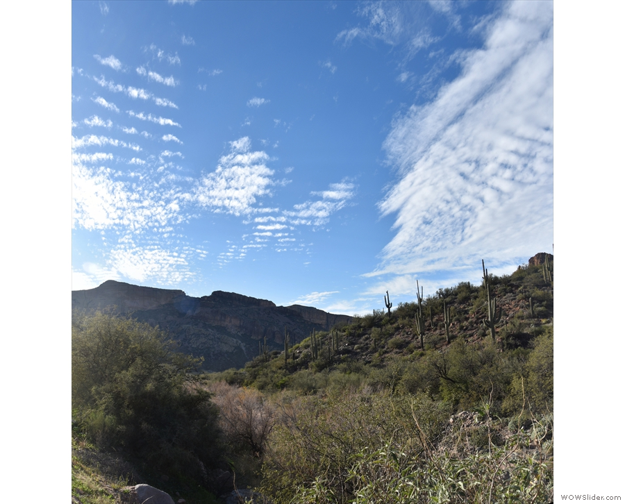 Looking back (photo from my drive along the Apache Trail in 2019), you can see...