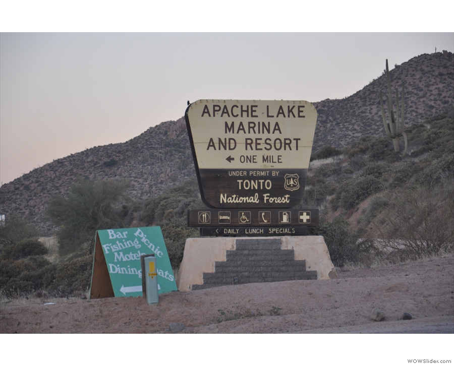 Right, time to get going. Next stop, Apache Lake!
