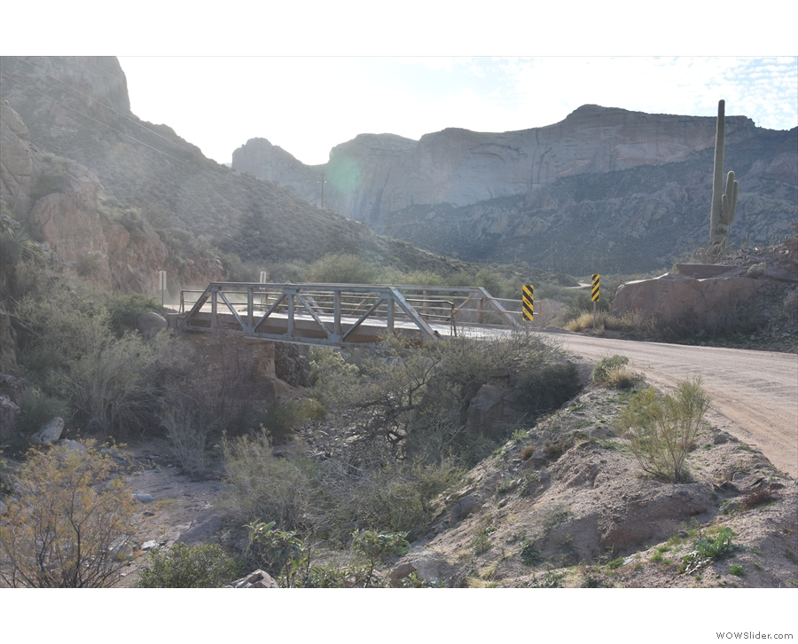 The bridge, looking back the way I've come, with the wall of Fish Creek Canyon beyond.