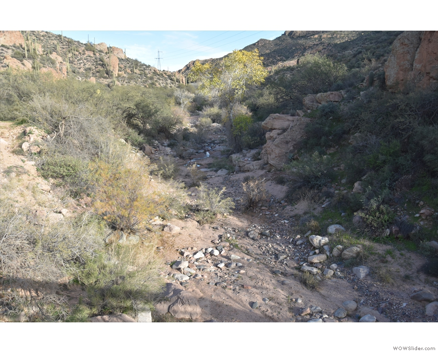 The view upstream along the Lewis and Prantry Creek, which was dry when I was there.