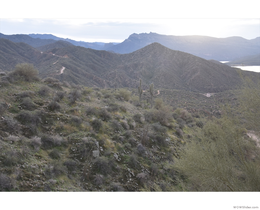... there's the Apache Trail as it descends towards the bridge over Pine Creek.