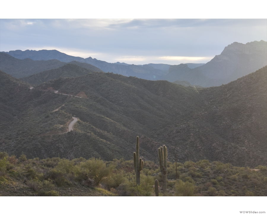 Meanwhile, off to the left, the Apache Trail descends to the bridge over Pine Creek.